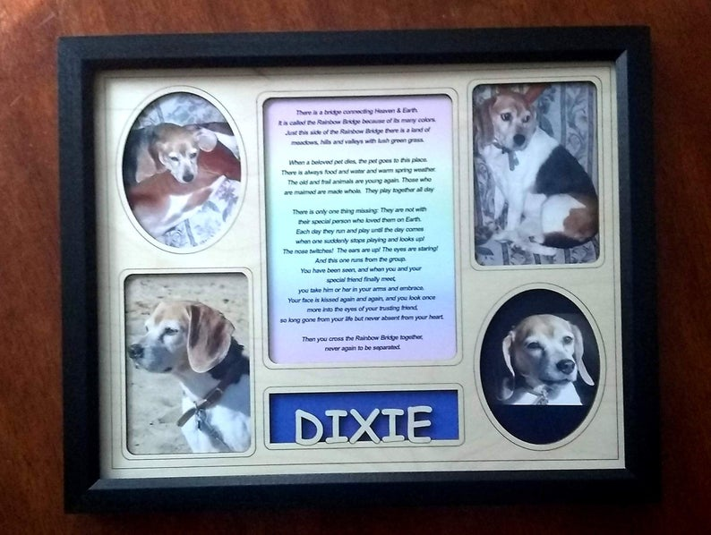Personalized Pet Display Frame With Pet's Name Engraved Insert Photo slots Rainbow Bridge poem Black frame
