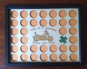Custom Poker Chip Display Insert 11X14 wood insert Fits 36 Harley chips Life is a Journey With Frame Option