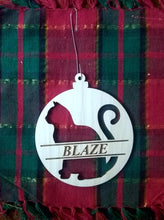 Load image into Gallery viewer, Custom Pet Ornament Personalized Dog or Cat's Name 4x3.5 Christmas Tree Ornament Laser-Engraved Decoration with Cat shape and name