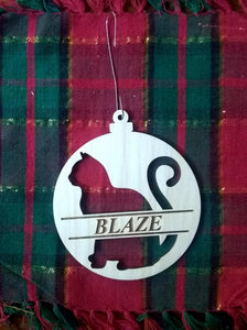 Custom Pet Ornament Personalized Dog or Cat's Name 4x3.5 Christmas Tree Ornament Laser-Engraved Decoration with Cat shape and name