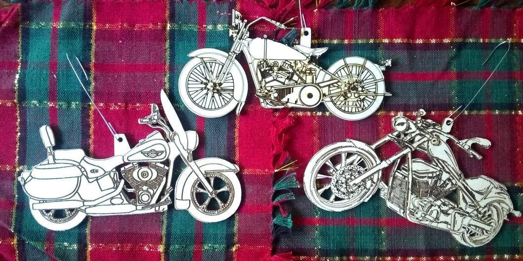 Custom Motorcycle Ornaments Christmas Tree Ornaments Laser-Engraved Decorations Gift for Harley-Davidson riders Holiday Decor