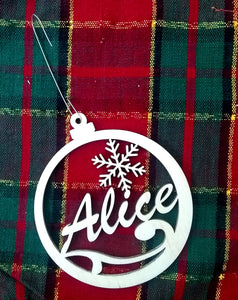 Custom Tree Ornament Personalized Your Name 4x3.5 Christmas Tree Ornament Laser-Engraved Decoration Snowflake Laser Name