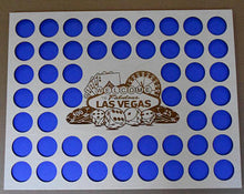 "Load image into Gallery viewer, Vegas Poker Chip Display Frame Insert Poker Player Gift Laser-engraved Large Vegas emblem 52 Casino chips 14x18"" insert With Black Frame"