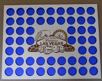 Vegas Poker Chip Display Frame Insert Poker Player Gift Laser-engraved Large Vegas emblem 52 Casino chips 14x18