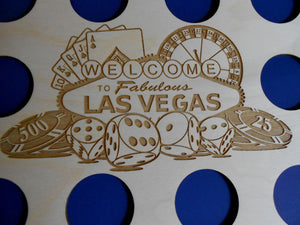 Custom Las Vegas Scene Insert with Black Frame Fits 10 Casino chips 8X10 natural birch laser-engraved insert with simple black frame