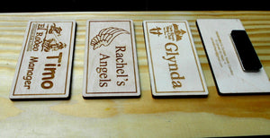 Custom Name Badges, laser-engraved personalized name badges, magnetic badges for employees, company logo, name tags for organizations