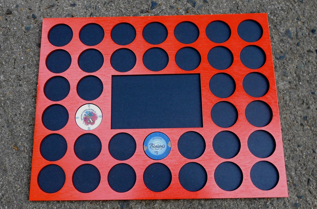 Custom Casino Poker Chip Display Frame Insert for 36 chips 11x14 chip holder Fits Harley-Davidson and Casino chips