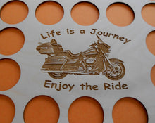 Load image into Gallery viewer, Motorcycle Engraved Poker Chip Frame Display Insert Fits 36 Harley or Casino chips 11 X 14 natural birch chip holder Life Is A Journey #18