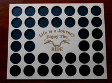 Load image into Gallery viewer, Engraved Poker Chip Frame Display Insert Life is a Journey Fits 36 Harley or Poker chips 11 X 14 natural birch chip holder Handle bars #19