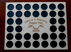 Engraved Poker Chip Frame Display Insert Life is a Journey Fits 36 Harley or Poker chips 11 X 14 natural birch chip holder Handle bars #19