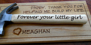 Personalized Hammer Laser-engraved Handle Appreciation Gift Father's Day Gift Gift for Dad from Daughter Customized red oak wall display