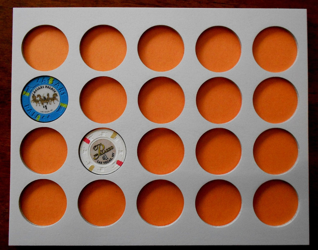 Poker Chip Display Frame Insert Fits 20 Harley-Davidson or Casino chips 8x10 poker chip holder Wood insert for chips