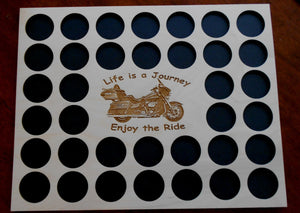 Motorcycle Engraved Poker Chip Frame Display Insert Fits 36 Harley or Casino chips 11 X 14 natural birch chip holder Life Is A Journey #18