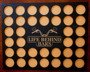 Custom Poker Chip Frame Display Insert Life Behind Bars Fits 36 Harley-Davidson or Casino chips 11x14 chip holder Frame or no Frame