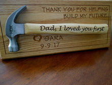 Load image into Gallery viewer, Personalized Hammer Laser-engraved Handle Father of the Bride Gift Father's Day Gift Wedding Gift Customized red oak wall display