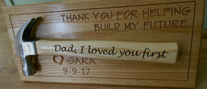 Personalized Hammer Laser-engraved Handle Father of the Bride Gift Father's Day Gift Wedding Gift Customized red oak wall display