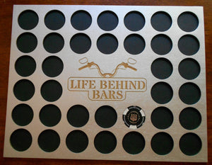 Motorcycle Engraved Poker Chip Display Insert for Frame Fits 36 Harley-Davidson chips Silver chip holder Life Behind Bars