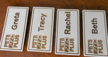 Load image into Gallery viewer, Custom Name Badges Company logo Laser-engraved personalized name badges Small name badges for conferences Magnetic name tag Wood badges