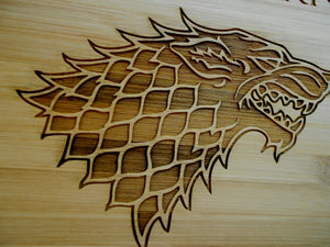 Custom Personalized Game of Thrones Bamboo Cutting Board Laser-engraved names Year Established Dinner is Coming Christmas Gift GOT