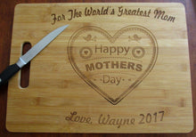 Load image into Gallery viewer, Custom Cutting Board Mothers Day Gift For the World's Greatest Mom Laser-engraved Personalized Bamboo Cheese Board Happy Mothers Day