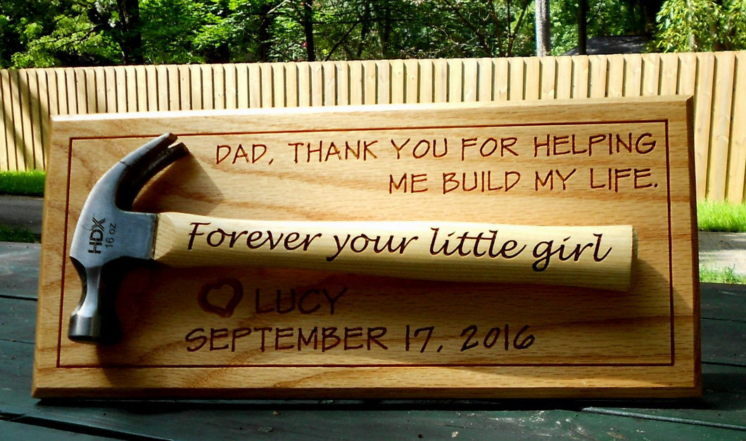 Personalized Hammer Display Laser-engraved Handle Father of the Bride Gift Father's Day Gift Wedding Gift Customized hammer wall display