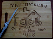 Load image into Gallery viewer, Custom Personalized Cutting Board House-warming Gift Laser-engraved Bamboo Board Our First New Home Couples Gift Surname & year