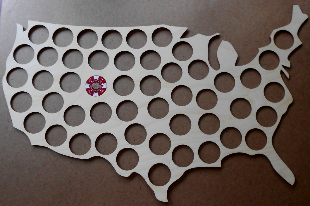 USA Map 50 Chip Display Frame Insert Ships Free Laser-engraved with 50 chip holes Holds Harley-Davidson or Casino chips