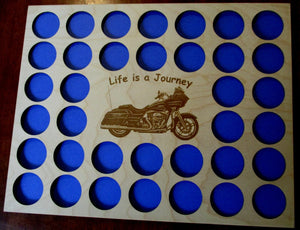 Custom Poker Chip Frame Display Insert Engraved motorcycle Fits 36 Harley-Davidson or Casino chips Harley riders gift #GR