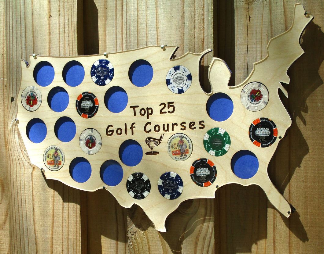 Custom Poker Chip Clip Frame for 25 Golf Ball Markers, Casino or Harley-Davidson chips Personalized USA Map Acrylic-glass clip frame