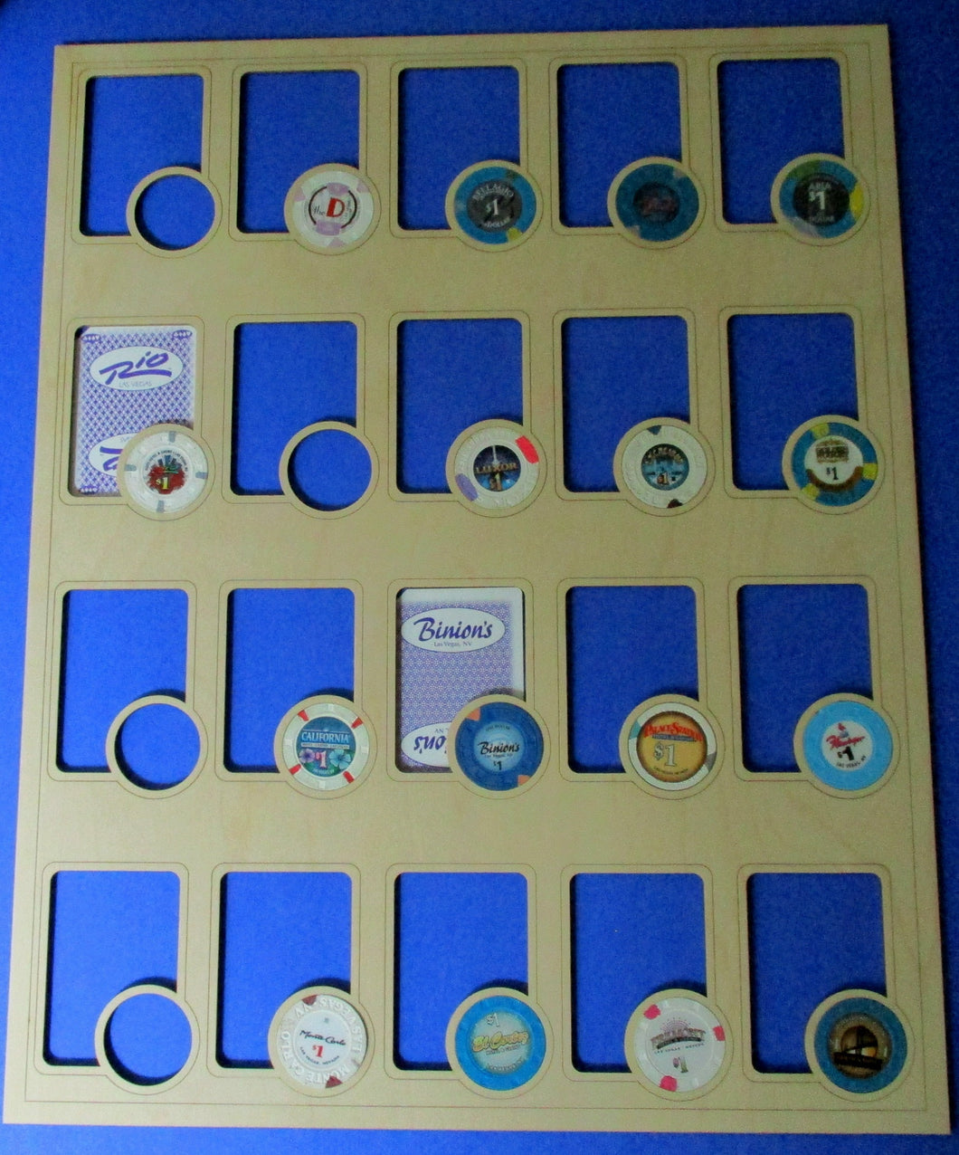 Custom Poker Player Chip and Card Insert Fits 20 casino playing cards and 20 casino poker chips 16X20 Collector's gift Poker Night