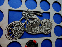 Load image into Gallery viewer, Custom Poker Chip Frame Display Insert Cut-out Bike Fits 36 Harley-Davidson or Casino chips 11 X 14 natural birch chip holder