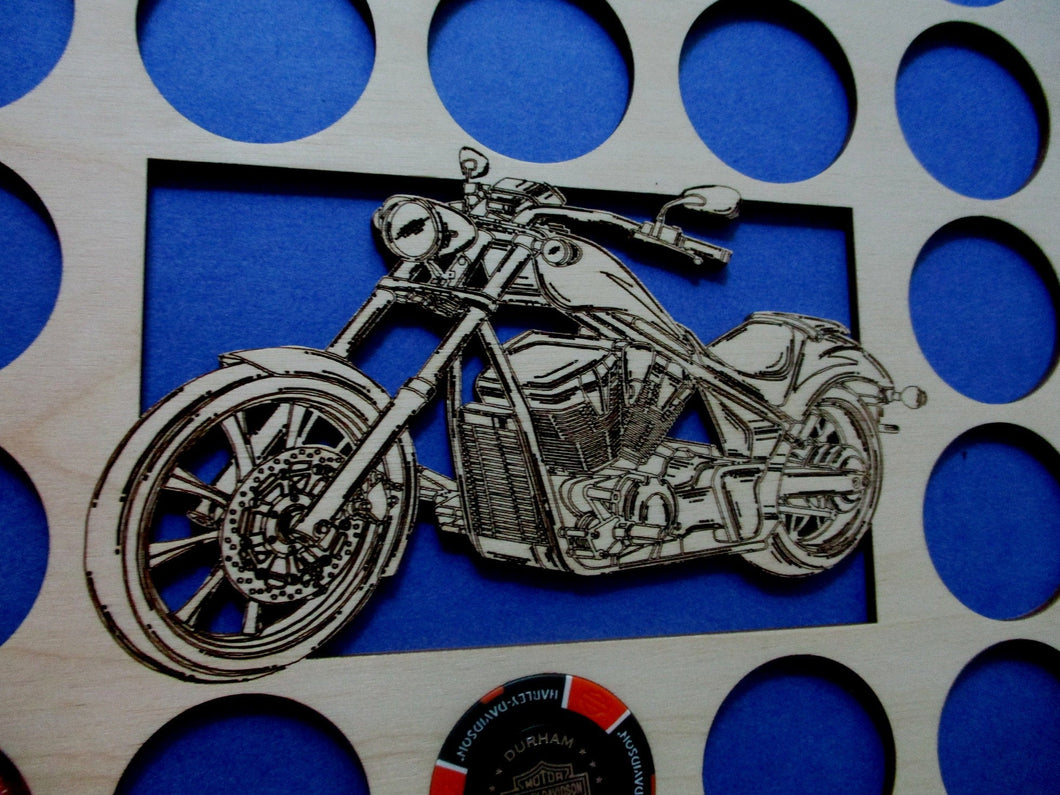Custom Poker Chip Frame Display Insert Cut-out Bike Fits 36 Harley-Davidson or Casino chips 11 X 14 natural birch chip holder