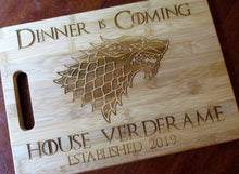 Load image into Gallery viewer, Custom Personalized Game of Thrones Bamboo Cutting Board Laser-engraved names Year Established Dinner is Coming Christmas Gift GOT
