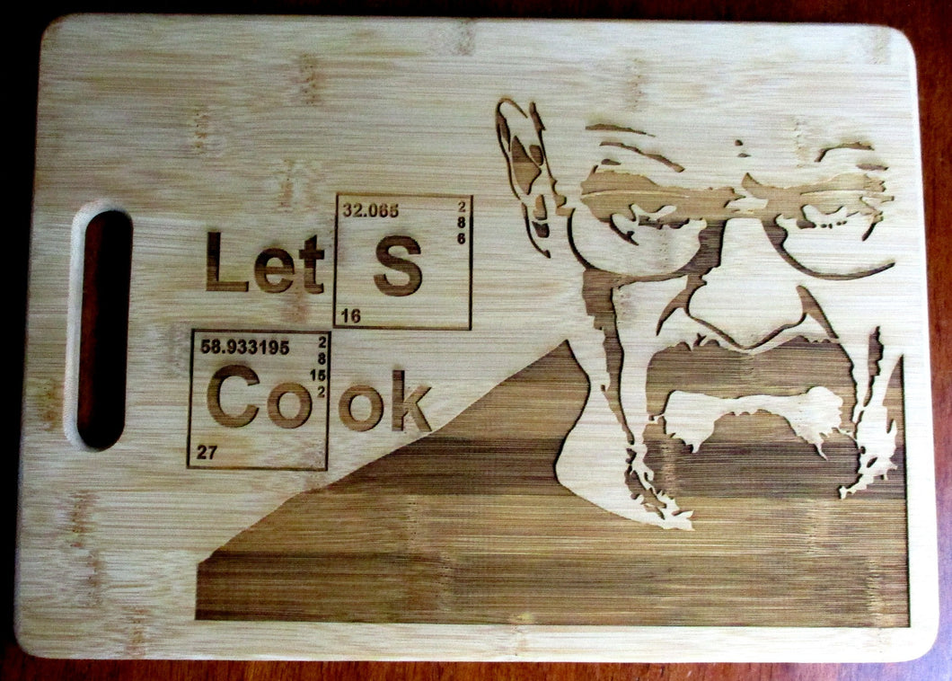 Custom Breaking Bad Bamboo Cutting Board Let's Cook Engraved Breaking Bad board Small or large bamboo cutting board Cheese board WW