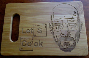 Custom Let's Cook Bamboo Cutting Board Engraved Breaking Bad 6X9 bamboo cutting board Cheese board Wedding Gift Christmas Gift