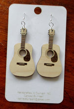 Load image into Gallery viewer, Custom Engraved Guitar Earrings Laser-engraved dangle birch earrings Cute earrings Gift for Teens Sisters Christmas Gift Music Lovers Gift