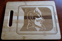 Load image into Gallery viewer, Custom Bamboo Cutting Board Duke Blue Devils Engraved Small or Large cheese board Couples Gift House Warming Christmas Gift