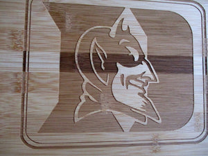 Custom Bamboo Cutting Board Duke Blue Devils Engraved Small or Large cheese board Couples Gift House Warming Christmas Gift