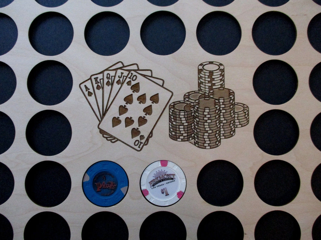 Custom Poker Chip Frame Display Insert Engraved cards and chips 11X14 chip holder fits Harley-Davidson and Poker Chips