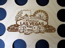 Load image into Gallery viewer, Custom Las Vegas Scene Display Frame Insert Welcome to Fabulous Las Vegas insert Fits 12 Casino chips 8X10 natural birch laser-engraved