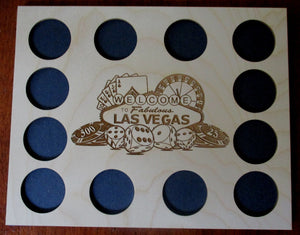 Custom Las Vegas Scene Display Frame Insert Welcome to Fabulous Las Vegas insert Fits 12 Casino chips 8X10 natural birch laser-engraved
