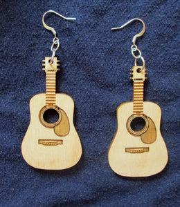 Custom Engraved Guitar Earrings Laser-engraved dangle birch earrings Cute earrings Gift for Teens Sisters Christmas Gift Music Lovers Gift