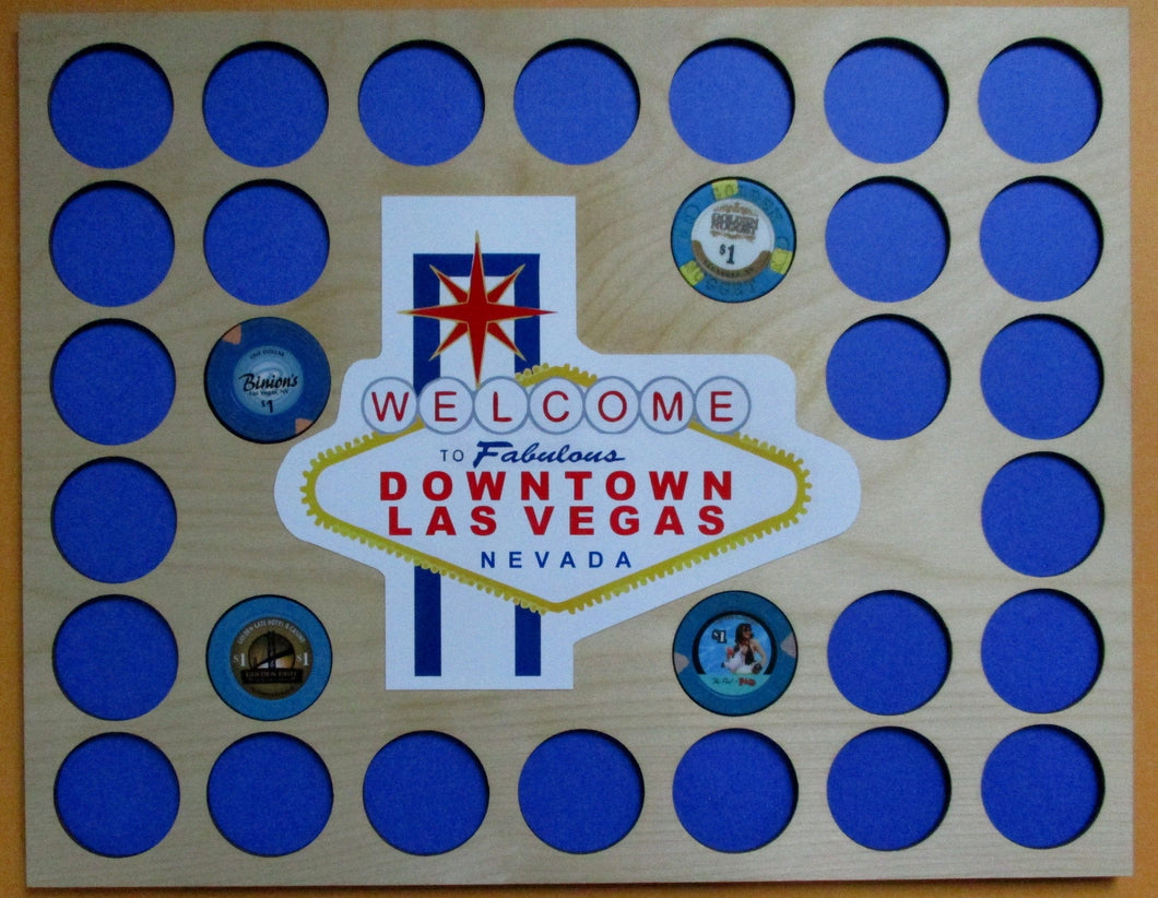 Las Vegas Poker Chip Insert Welcome to Downtown Las Vegas Holds 30 casino chips Las Vegas emblem 11X14
