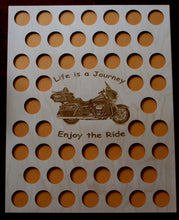 Load image into Gallery viewer, Custom Casino Poker Chip Display Frame Insert 16x20 wood insert Fits 50 Harley and Casino chips Engraved Life is a Journey