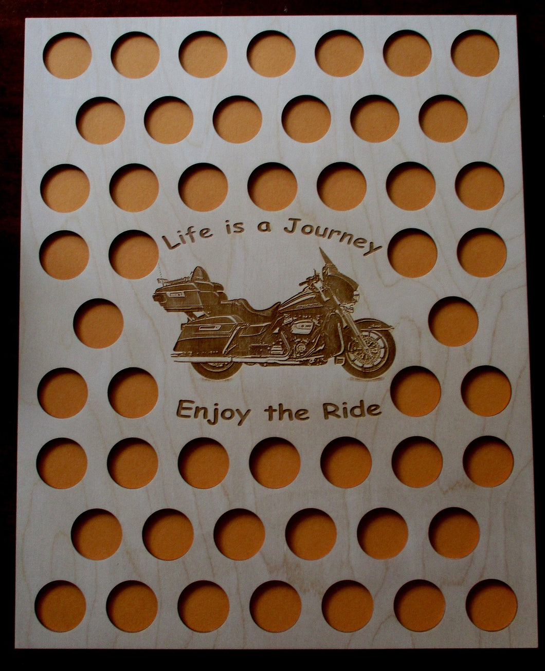 Custom Casino Poker Chip Display Frame Insert 16x20 wood insert Fits 50 Harley and Casino chips Engraved Life is a Journey