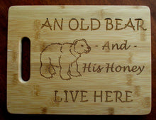 Load image into Gallery viewer, Custom Cutting Board An Old Bear and His Honey Bamboo cheese board Christmas Gift Small engraved board