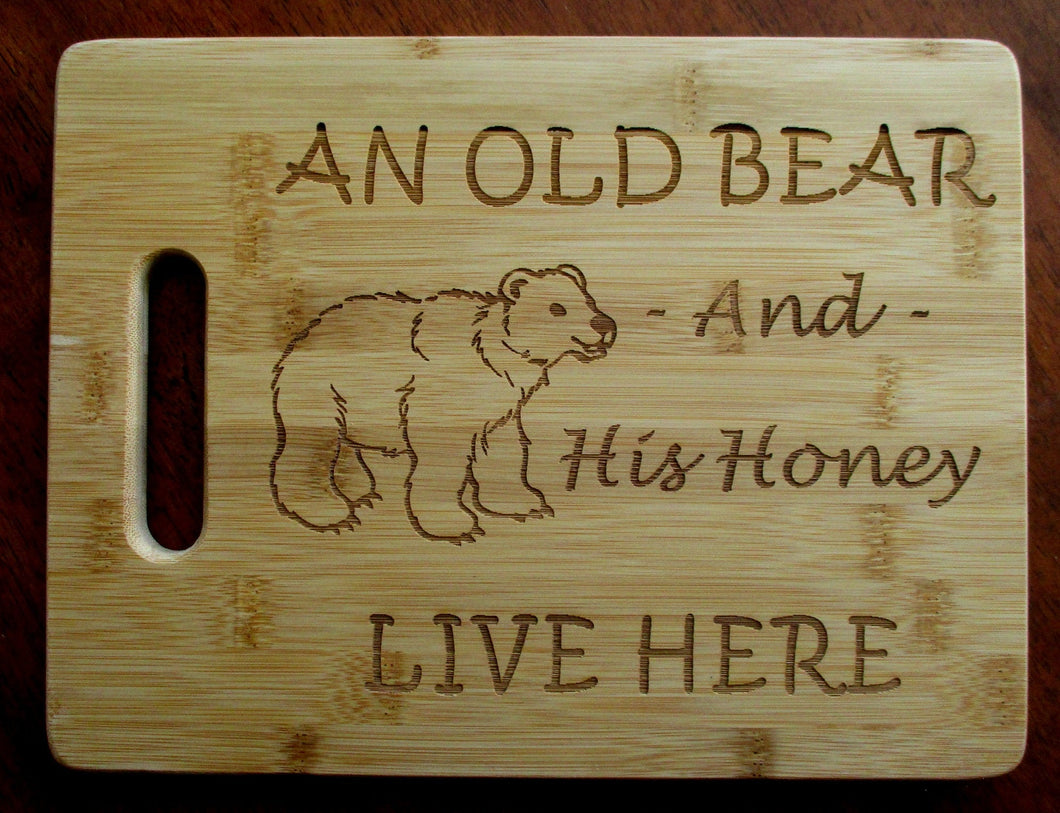Custom Cutting Board An Old Bear and His Honey Bamboo cheese board Christmas Gift Small engraved board