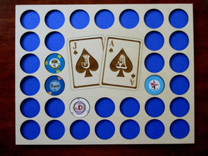 Custom Poker Chip Frame Display Insert Jack and Ace Engraved with frame option Fits 33 Casino chips 11x14 natural birch Christmas gift