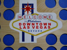 "Load image into Gallery viewer, Las Vegas Poker Chip Insert Welcome to Downtown Las Vegas Holds 30 casino chips Las Vegas emblem 11X14"" Chip display insert for frame"