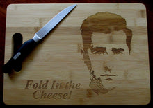 Load image into Gallery viewer, Custom Cutting Board FOLD in the cheese Bamboo cheese board Large or small engraved board David Rose Schitt's Creek Christmas Gift